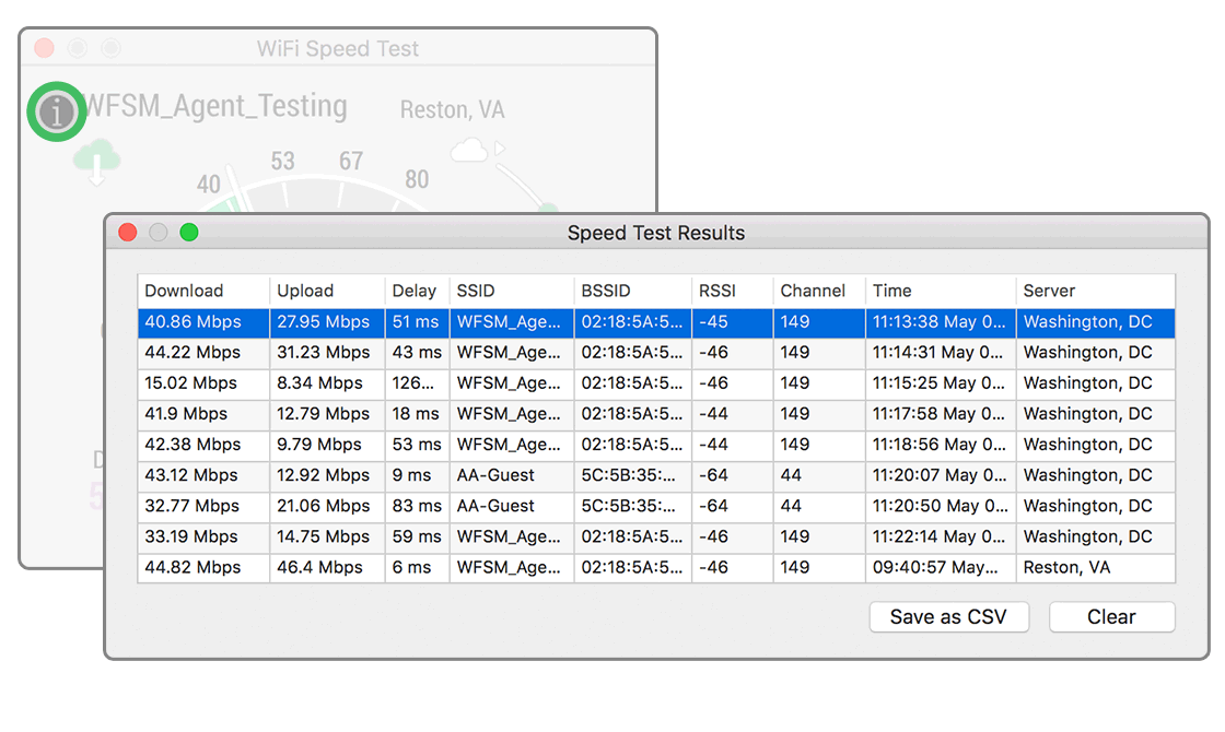 Results Window for WiFi Speed Test
